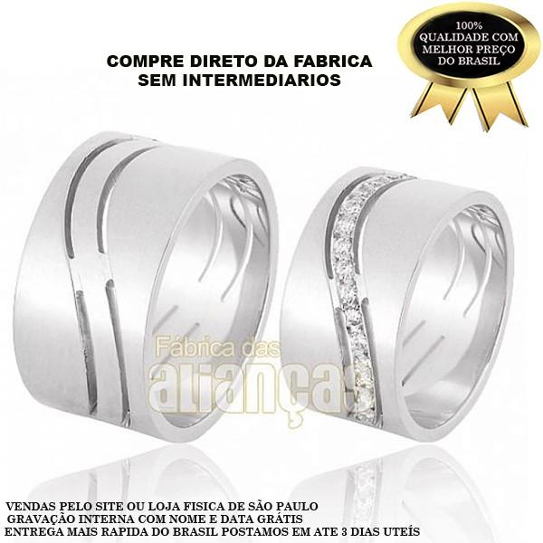 Aliança de Noivado e Casamento em Ouro Branco 18k 0,750 FA-609-B