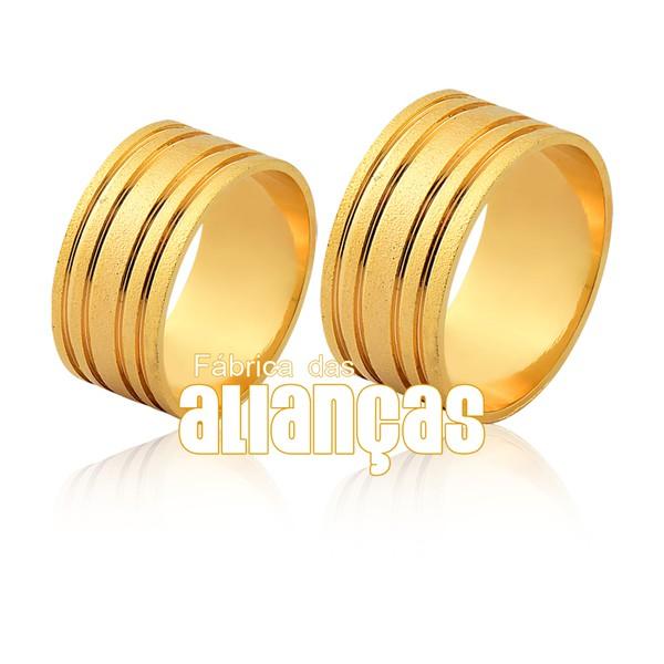 Alianças De Noivado e Casamento Em Ouro Amarelo 18k 0,750 Fa-1152