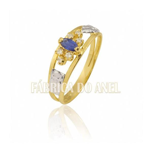 Anel de Formatura Feminino em Ouro Amarelo 18k 0,750 FA-173-Z
