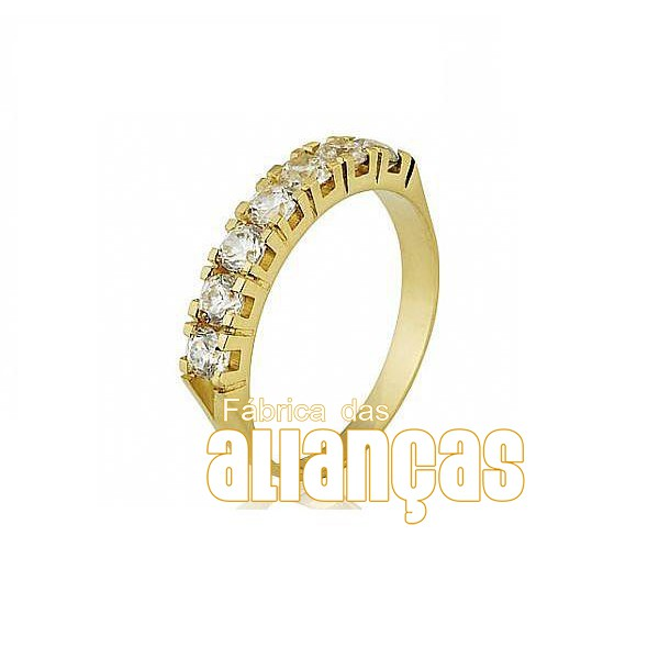 Meia Aliança Com Diamantes Em Ouro 18k 0,750 Fa-ma-11