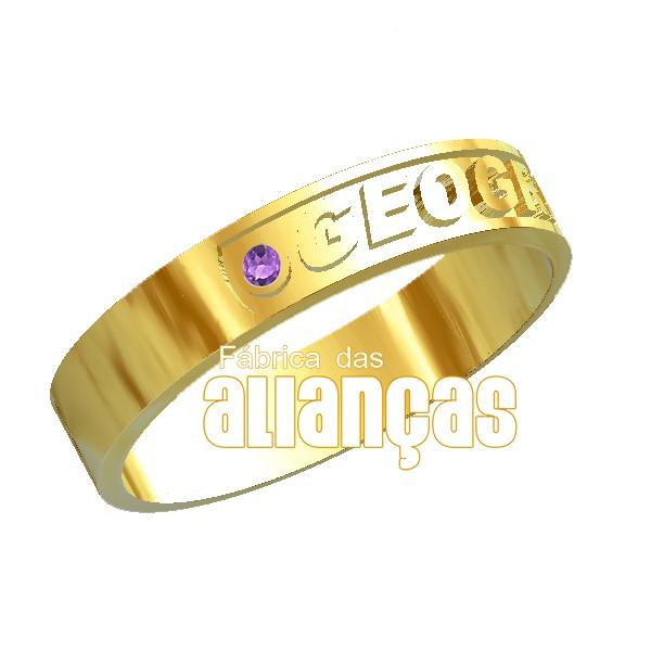 Anel de Formatura de Geografia em Ouro Amarelo 18k 0,750 FA-1005-N