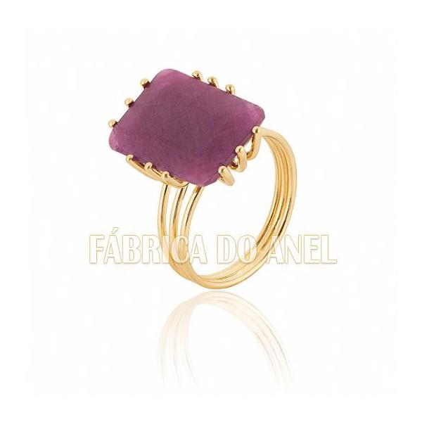 Anel Feminino Rubi em Ouro Amarelo 18k 0,750 AN-14-R