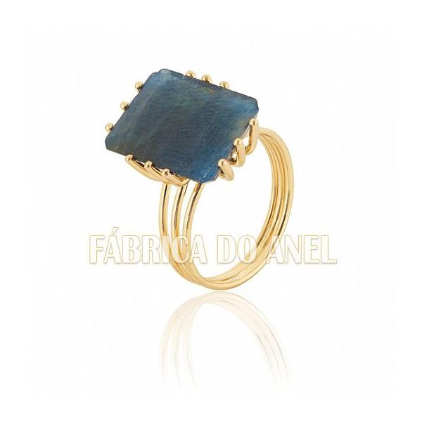 Anel Feminino Safira Azul Em Ouro Amarelo 18k 0,750 An-14-s