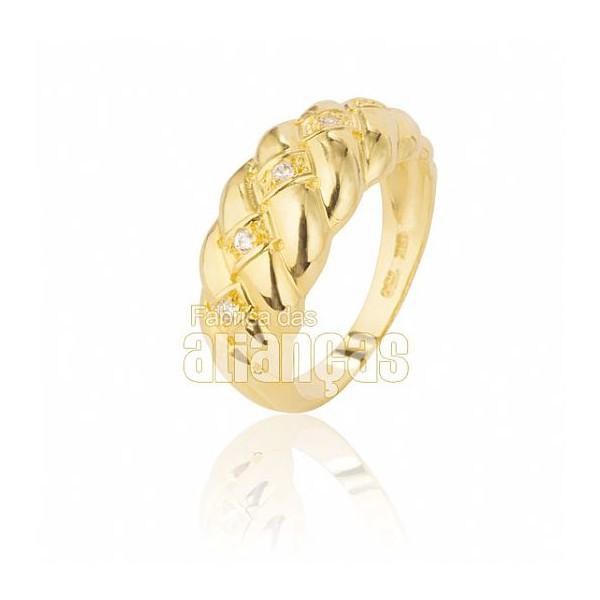 Anel Feminino Em Ouro Amarelo 18k 0,750 An-102