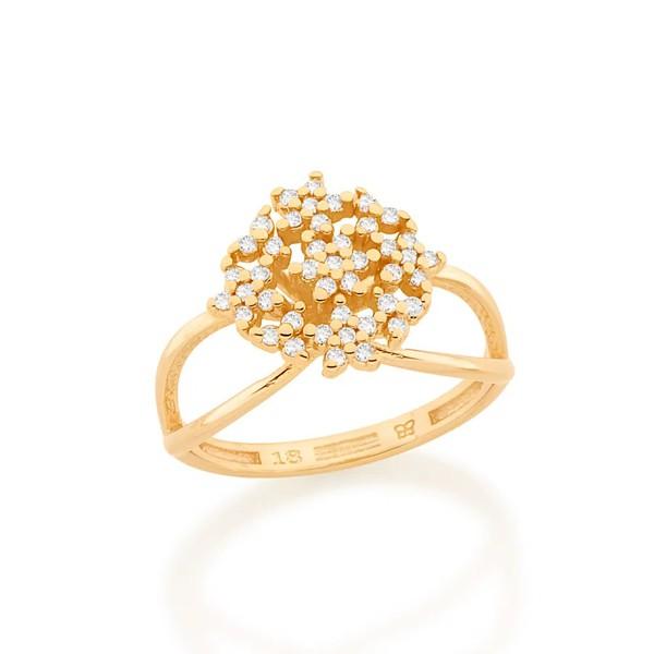 Anel círculo com flores folheado a ouro