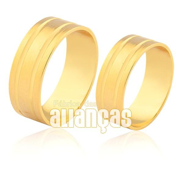 Alianças de Noivado e Casamento em Ouro 18k com detalhes