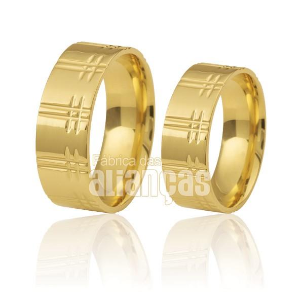 Alianças de Noivado e Casamento em Ouro Amarelo 18k 0,750 FA-211