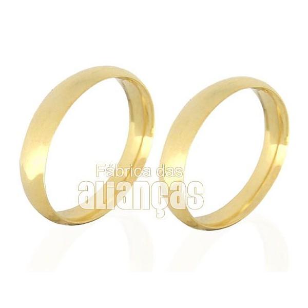 Par de alianças anatomicas de ouro 10k de noivado e casamento