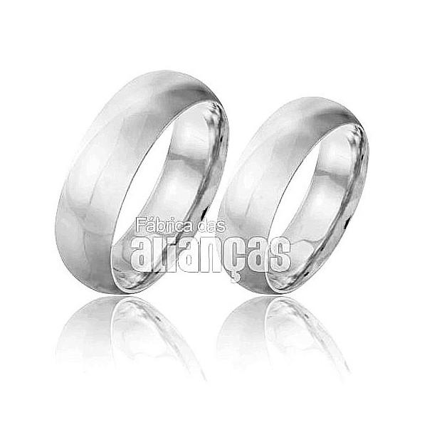 Alianças de Noivado e Casamento em Ouro Branco 18k 0,750 FA-141-B