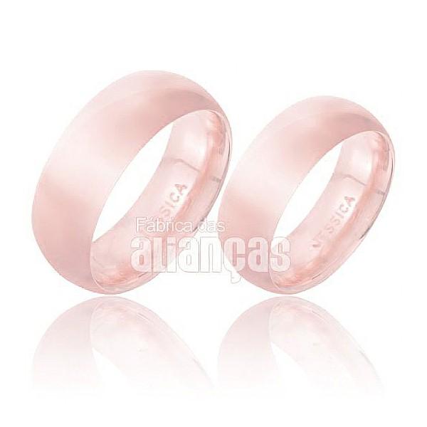Alianças de Noivado e Casamento em Ouro Rose 18k 0,750 FA-149-R