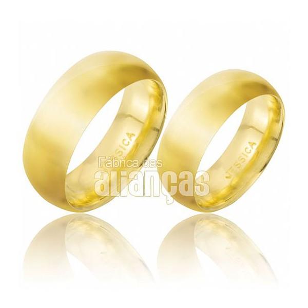 Aliança anatomica de ouro 18k para noivado