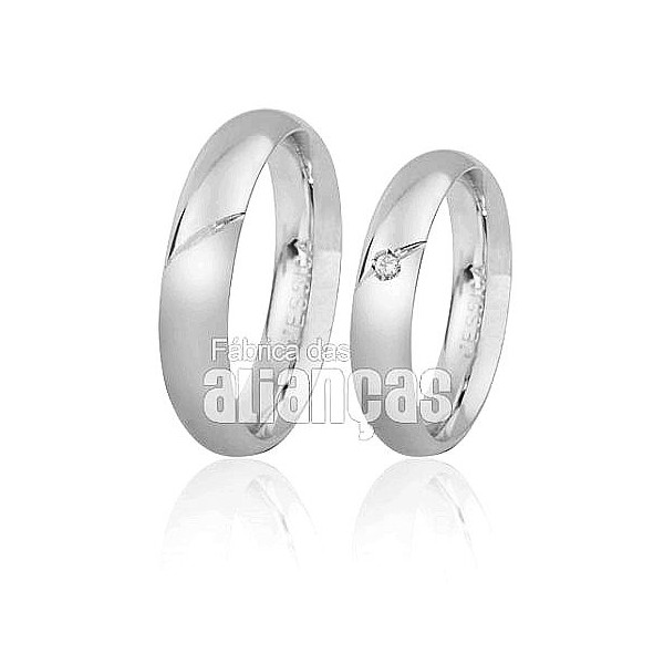 Alianças de Noivado e Casamento em Ouro Branco 18k 0,750 FA-157-B