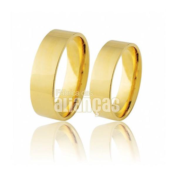 Alianças de Noivado e Casamento em Ouro Amarelo 18k 0,750 FA-169