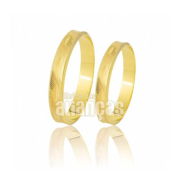 Alianças de Noivado e Casamento em Ouro Amarelo 18k 0,750 FA-179