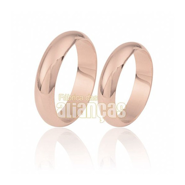 Alianças de Noivado e Casamento em Ouro Rose 18k 0,750 FA-21-R