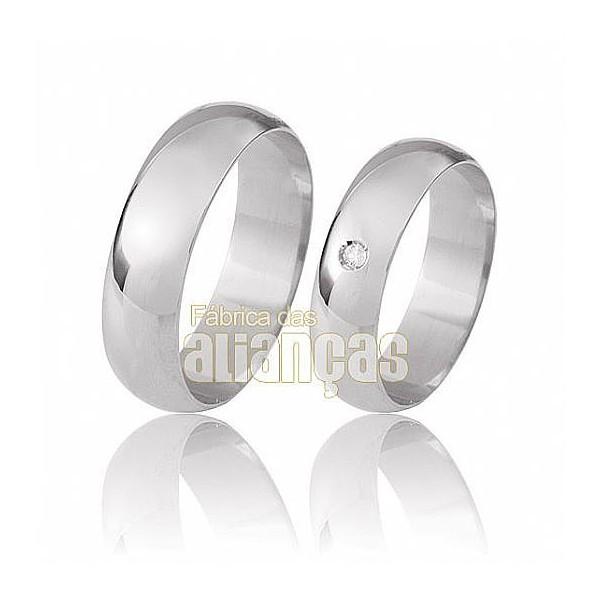 Alianças de Noivado e Casamento em Ouro Branco 18k 0,750 FA-24-B