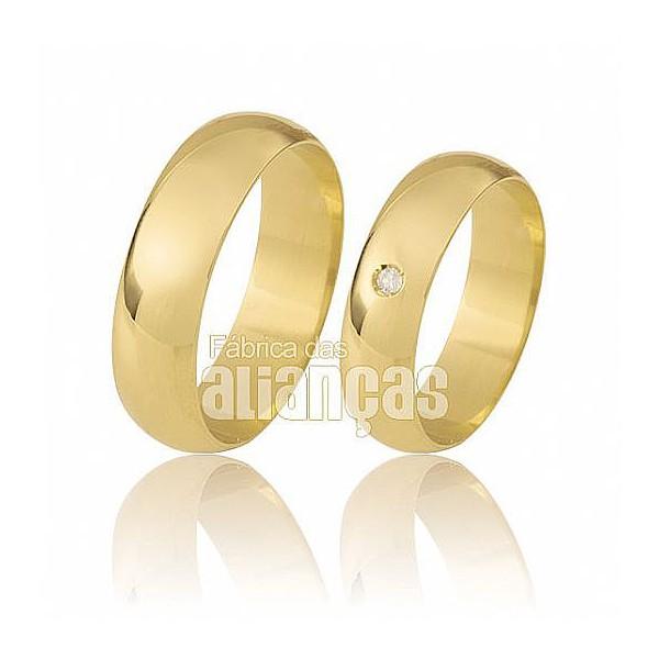 Aliança De Ouro18k Abaulada Com Diamantes