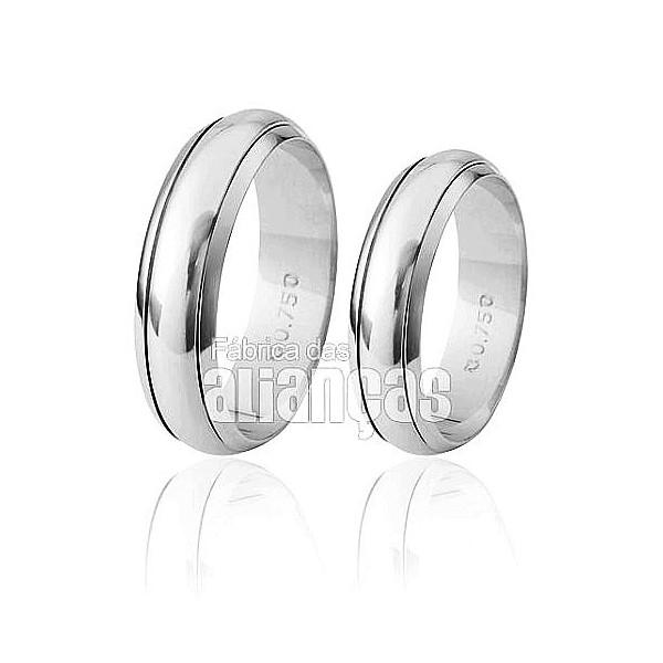 Aliança de Noivado e Casamento em Ouro Branco 18k 0,750 FA-267-B