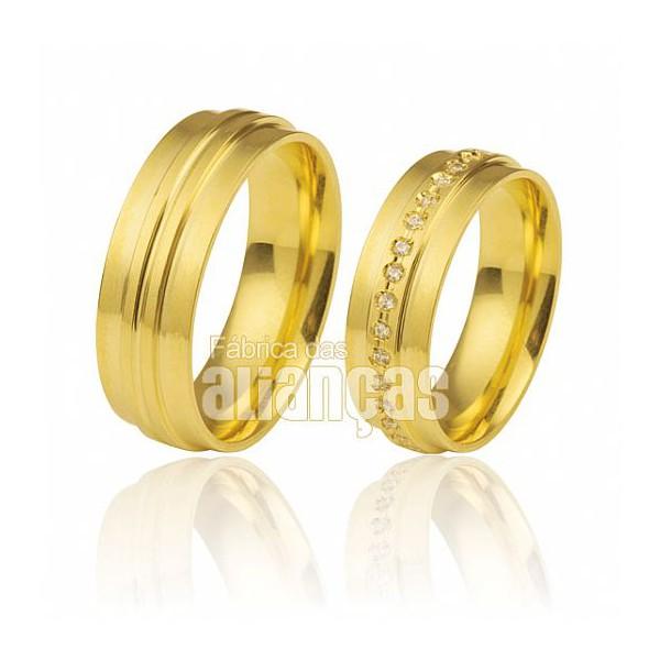 Alianças de Noivado e Casamento em Ouro Amarelo 18k 0,750 FA-289