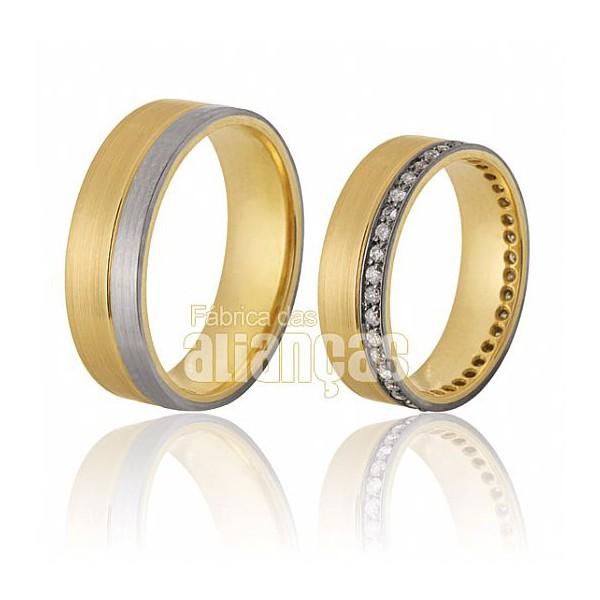 Alianças de Noivado e Casamento em Ouro Amarelo 18k 0,750 FA-290
