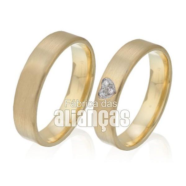 Alianças de Noivado e Casamento em Ouro Amarelo 18k 0,750 FA-305