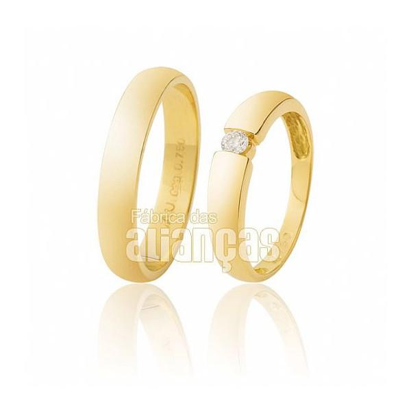 Aliança Escovada de Noivado de Ouro Amarelo 18k