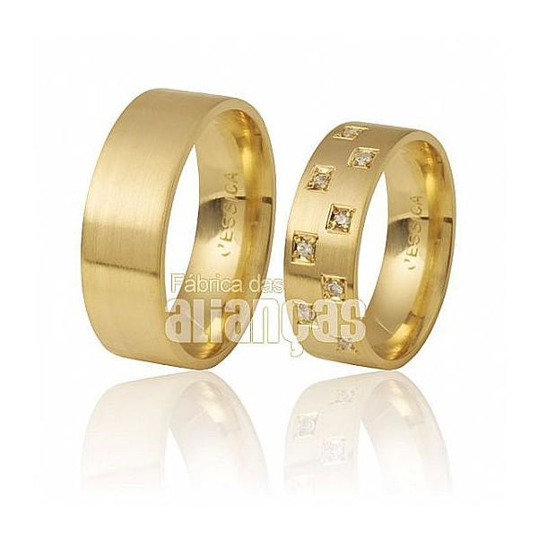 Alianças Anatômica de Ouro Amarelo 18k com Diamantes