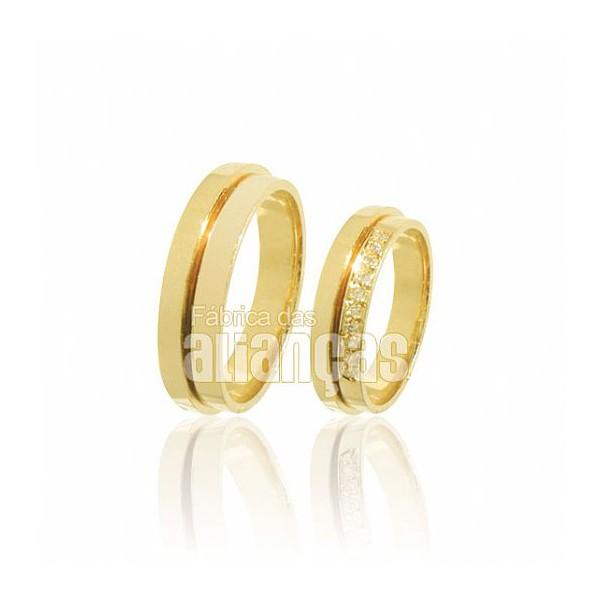 Alianças de Noivado e Casamento em Ouro Amarelo 18k 0,750 FA-424
