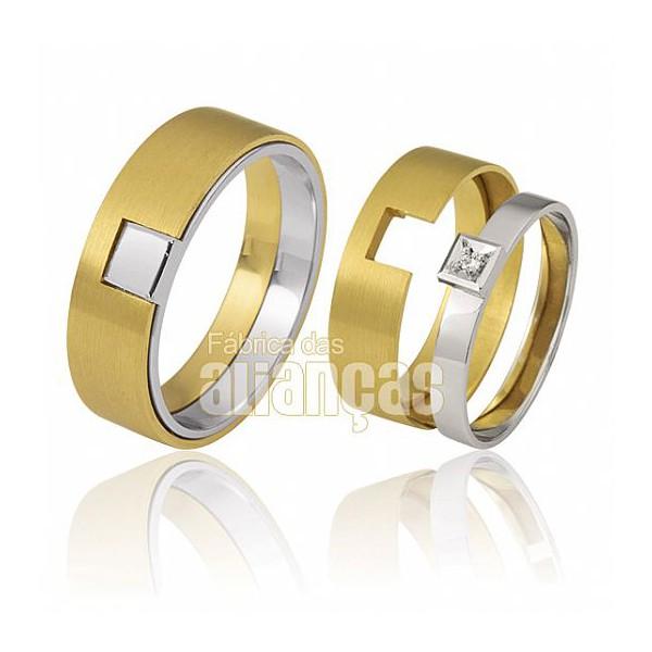 Alianças de Noivado e Casamento em Ouro Amarelo e Branco 18k 0,750 FA-425