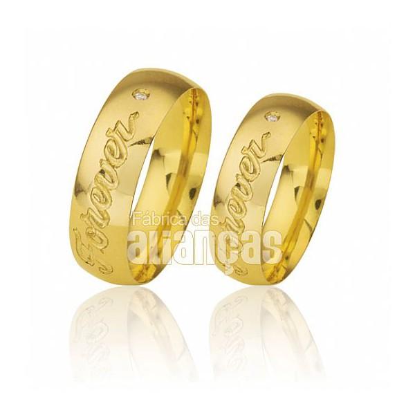 Par de alianças cok gravação externa para noivado em ouro 18k