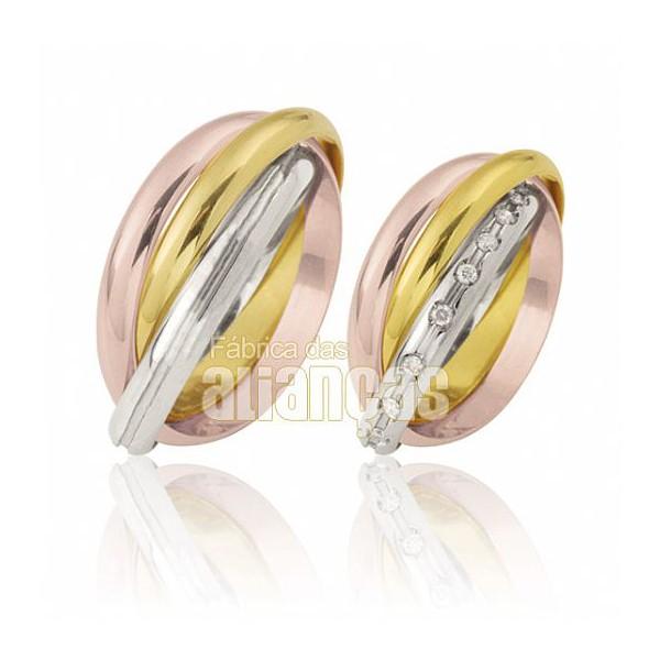 Alianças de Noivado e Casamento em Ouro Amarelo 18k 0,750 FA-454