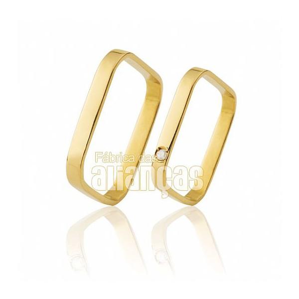 Alianças de Noivado e Casamento em Ouro Amarelo 18k 0,750 FA-462