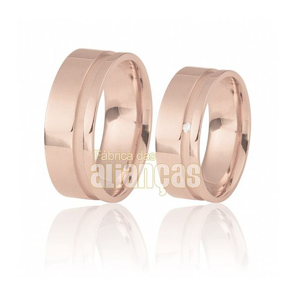 Aliança de Noivado e Casamento em Ouro Rose 18k 0,750 FA-490-R