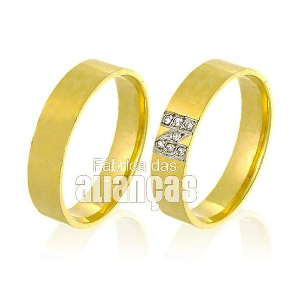 Alianças de Noivado e Casamento em Ouro Amarelo 18k 0,750 FA-523