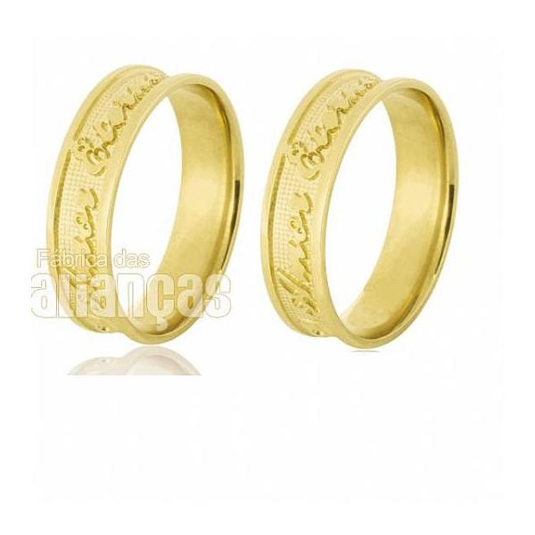 Alianças de Noivado e Casamento em Ouro Amarelo 18k 0,750 FA-530