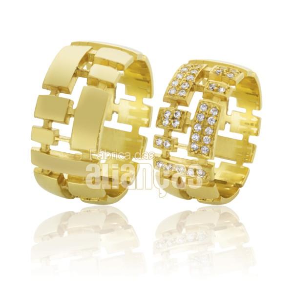 Alianças de Noivado e Casamento em Ouro Amarelo 18k 0,750 FA-577