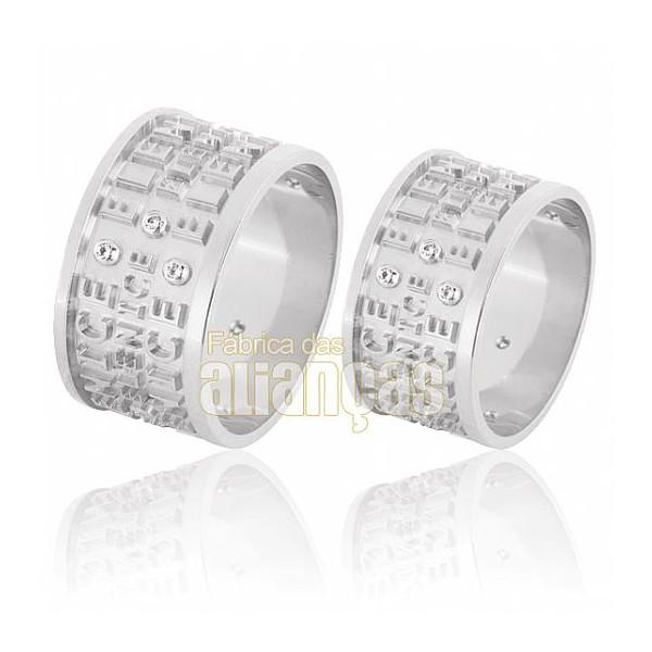 Alianças de Noivado e Casamento em Ouro Branco 18k 0,750 FA-594-B