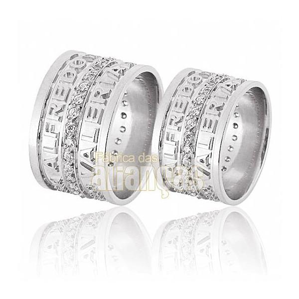 Alianças de Noivado e Casamento em Ouro Branco 18k 0,750 FA-597-B