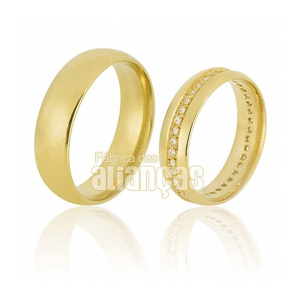 Alianças de Noivado e Casamento em Ouro Amarelo 18k 0,750 FA-607