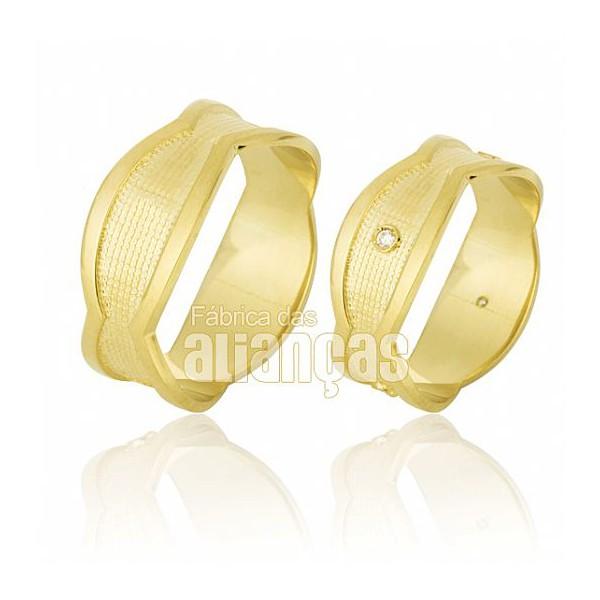 Alianças de Noivado e Casamento em Ouro Amarelo 18k 0,750 FA-630