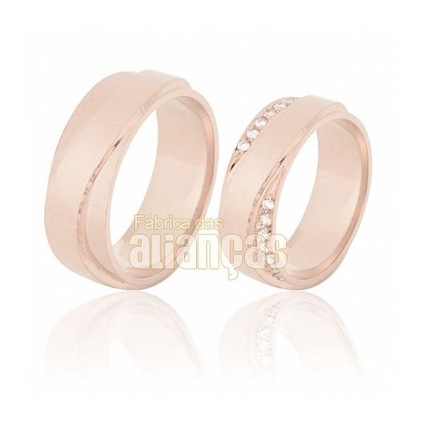 Aliança de Noivado e Casamento em Ouro Rose 18k 0,750 FA-634-R