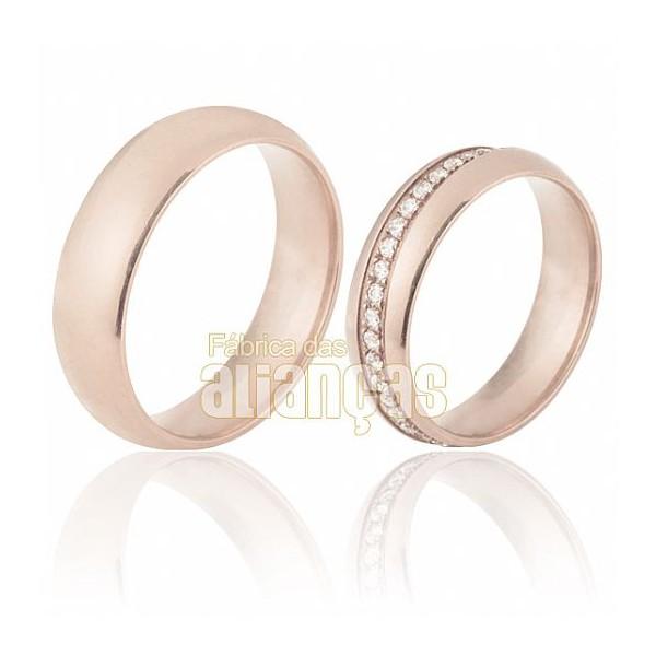 Alianças de Noivado e Casamento em Ouro Rose 18k 0,750 FA-690-R