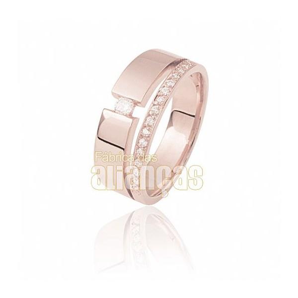 Aparador Para Aliança de Noivado e Casamento em Ouro Rose 18K 0,750 FA-809-U-R