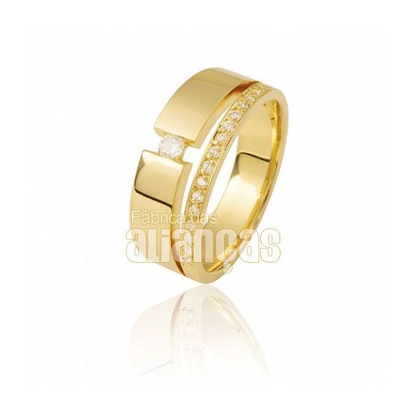 Aparador Para Aliança de Noivado e Casamento em Ouro Amarelo 18K 0,750 FA-809