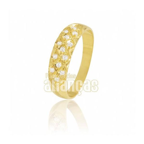 Aparador Para Aliança de Noivado e Casamento em Ouro Amarelo 18K 0,750 FA-811