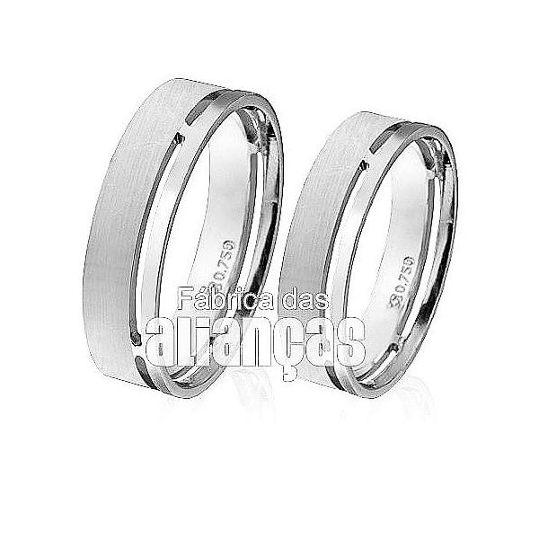 Alianças de Noivado e Casamento em Ouro Branco 18k 0,750 FA-88-B