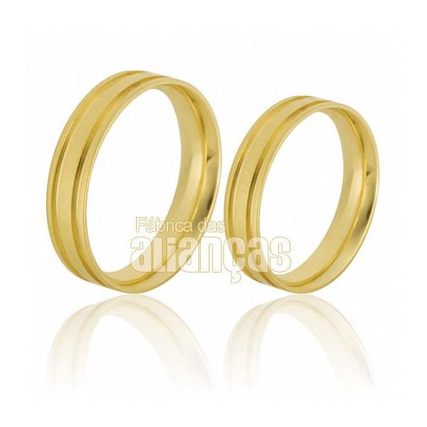 Belas Alianças de Noivado e Casamento em Ouro Amarelo 18k