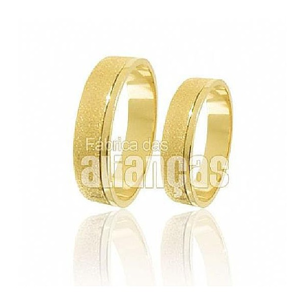 Alianças de Noivado e Casamento em Ouro Amarelo 18k 0,750 FA-196