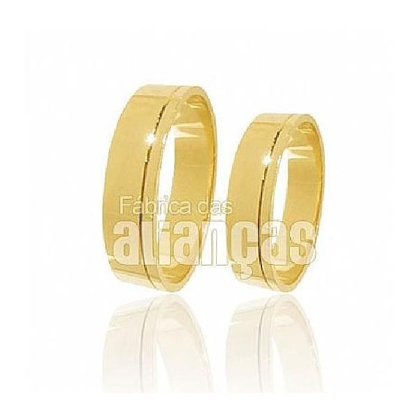 Alianças de Noivado e Casamento em Ouro Amarelo 18k 0,750 FA-197