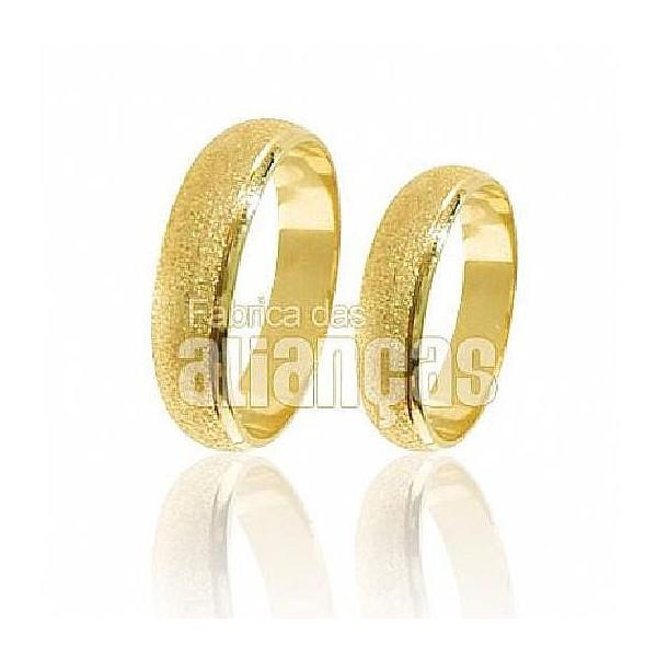 Alianças de Noivado e Casamento em Ouro Amarelo 18k 0,750 FA-199